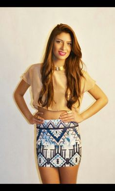 Love the 'Tribal Skirt' with the crop top. Perfect outfit.
