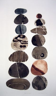 Pebbles are Great (colour series) - Tessa Horrocks Collagraph This artist has used print making to creat these pebbles Abstract Watercolor Art, Watercolor Paintings, Encaustic Painting, Watercolours, Stone Decoration, Motifs Organiques, Illustration Art, Illustrations, Collagraph