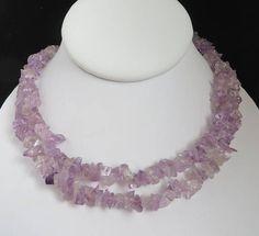 Purple Quartz Necklace Long Beaded Necklace Quartz Chip