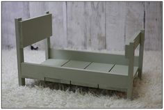 Newborn Photography Photo Prop Distressed Baby Bed Solid Wood Sage Green Wooden | eBay