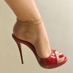 Delicious female feet Tan Strappy Heels, Red High Heels, Sexy Legs And Heels, Stiletto Heels, Stockings Heels, Nylons Heels, Beautiful High Heels, Gorgeous Feet, Pies Sexy