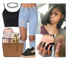 """""""..."""" by melaninmonroee ❤ liked on Polyvore featuring Topshop, Rolex, Michael Kors and Puma"""