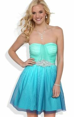 Deb Shops #Ombre Strapless Short #Prom #Dress with Spliced Bodice and Stone Waist $76.90