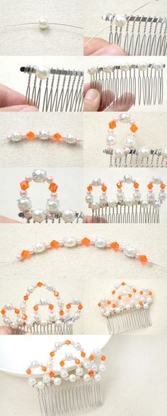 Tutorial for Crown Wedding Hair Comb with Pearl and Crystal from LC.Pandahall.com