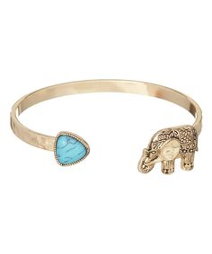 Turquoise & Goldtone Elephant Hammered Cuff by LCO Jewelry