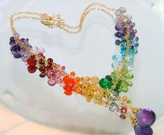 14k gold eternally summer  rainbow gems necklace by CAPGEMS2, $360.00