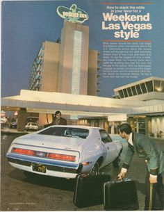 1972 ad for Las Vegas travel, featuring the Pierre Cardin edition of the AMC Javelin.
