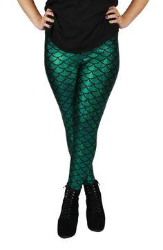Green Mermaid Spandex Leggings by GpopClothing on Etsy, $55.00