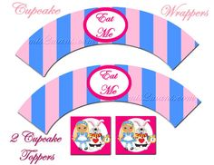 Cupcake Toppers Alice In Wonderland Cupcake by M2MPartyDesigns