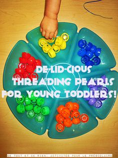 Baby food lids for threading, stacking, sorting. ~NOOOO! Not only do they have sharp pieces on them that are pretty impossible to get off, C kept sticking them in her mouth (which she doesn't do a lot of!) and they are perfect choking size...