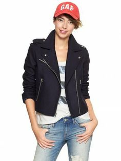 Jaqueta Gap Women's Wool Moto Jacket Navy #Gap#Jaqueta