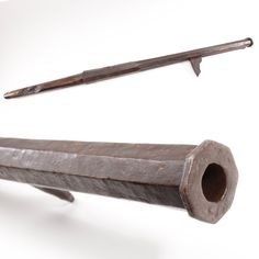 Handcannon – This crude European cannon was found in the ruins of a fortress near Salzberg, Austria that was destroyed around 1350 AD. It was basically a cannon on a stick. The projection on the side was intended to be hooked over a wall or tree trunk in firing to mitigate recoil.  From the pitting around the touch hole, ours was fired a lot. Ignition on this one relied on a red-hot piece of iron or a blazing twig, and ammunition was whatever could fit inside the ample bore – rocks, nails…