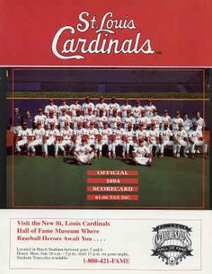 1994 St Louis Cardinals Scorecard