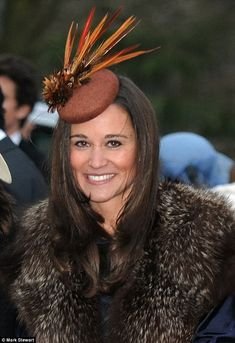 Pippa Middleton wrapped herself up in faux fur to keep warm at the wedding of her close friends fashion designer Emma Logue, Alex Roupell and Gina Foster Millinery in Northern Ireland today. Pippa Middleton, Middleton Family, Queen And Prince Phillip, Queen Kate, Ireland Wedding, Millinery Hats, Cocktail Hat, Fancy Hats, Hat Shop