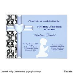 Sold #Damask #HolyCommunion #Invitation Available in different products. Check more at www.zazzle.com/graphicdesign