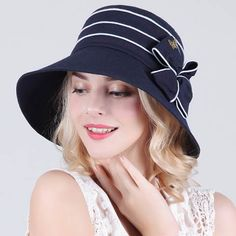 Spring bow wide brim sun hat womens bucket hat for sun protection UV 9f61507dc0ce