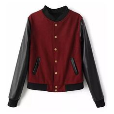 Wool Baseball Jacket With Leather Look Sleeves ($31) ❤ liked on Polyvore featuring outerwear, jackets, shirts, tops, faux leather moto jacket, moto jacket, red jacket, faux leather motorcycle jacket and wool jacket