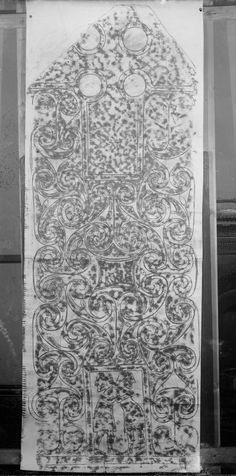 Photographic copy of rubbing showing the face of the Princes Stone Pictish cross slab, Glenferness