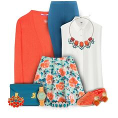 Orange and Teal Floral Skirt Fashion by superstylist on Polyvore featuring moda, Dear Cashmere, Uniqlo, MARC BY MARC JACOBS, TOMS, Sophie Hulme, Apt. 9, Napier, Forever New and Daytrip
