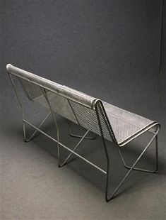 Mathieu Matégot; Enameled Steel 'Casablanca' Bench, 1953.