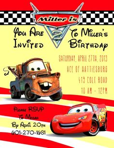 Cars Themed Birthday Invite Boy In A 5x7