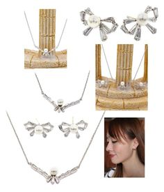 """""""Simple rosette crystal and pearl necklace earring set"""" by oceanfashion on Polyvore"""