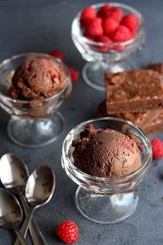 Raspberry Dark Chocolate Ice Cream with Brownie Chunks – Leo Briggs