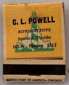 C.L Powell Gulf Life Insurance #frontstriker #matchbook - To order your Business' own Branded #matchbooks or #matchboxes GoTo: www.GetMatches.com or CALL 800.605.7331 TODAY!