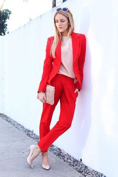 Bright Red Pantsuit 2017 Street Style