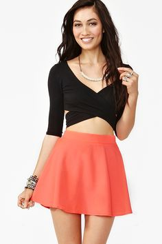 Silk Circle Skirt - Neon Coral    Circle Skirts forever, and I want the top
