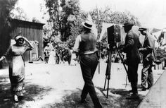 Dorothy Davenport is far left as cameramen ready themselves to shoot a silent movie scene in Edendale. This set is located at the Bonadiman farm (no longer around), near what is now Benton Way in Silver Lake. Photo circa 1915.  (LAPL) Bizarre Los Angeles.