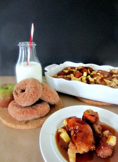 Apple Cider Donut Bread Pudding & Caramel Sauce