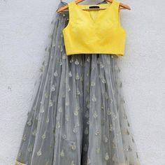 Designer lehenga gray lehenga readymade blouse lehenga choli for women fancy lehenga Indian leh Indian Gowns Dresses, Indian Fashion Dresses, Indian Designer Outfits, Indian Outfits, Designer Dresses, Fashion Outfits, Lehenga Choli, Lehnga Dress, Indian Lehenga