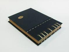 Handmade journals, coptic stitch bookbinding, handmade bookmark, size: A5 landscape, by Siraa Crafts دفتر دست ساز، دوخت دست دوز به شیوه قبطی، جلد پارچه ای دو تکه، چوب الف بافته شده و آویز چوبی، کاغذ کرافت ۱۱۵ گرمی، تعداد برگه ۸۰؛ خطاطی و حک اسم روی جلد کارگذاشته شده داخل جلد، کالای دست ساز سیرا؛ این دفتر به سفارش ساخته شده است