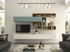 Mueble modular de pared composable SLIM 100 By Dall'Agnese diseño Imago Design Tv Unit Design, Tv Wall Design, Living Room Tv, Home And Living, Modern Living, Muebles Living, Tv Wall Decor, Wall Storage, Living Room Designs