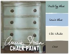 Colorways with Leslie Stocker » The Blues start with a coat of Annie Sloan Chalk Paint in Duck Egg Blue. Once that is dry, using a light touch, add some areas of Louis Blue and Old White to give depth to your finish. Finally, add Coco  with a dry brush to create shadows. Use a clear wax on the entire piece  when finished painting. The wax helps protect the paint,  but also contributes to the look of an aged patina, like that seen  on antiques and vintage furniture.