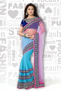 Buy Sky Blue Georgette Party Wear Saree Online in low price at Variation. Huge collection of Party Wear Sarees for Party, Festivals, Engagements and Ceremonies. #party #partywearsarees #sarees #onlineshopping #latest #lowprice #variation. To see more - https://www.variationfashion.com/collections/party-wear-sarees