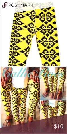 """Yellow Black Tribal Aztec Motif Kids Leggings Lg Super cute Leggings In Yellow & Black Tribal Motif come in Large Child Size 10-12.   Girl's: Large These leggings should fit a LARGE-SIZED CHILD with a waist 21""""-30."""" Callie Lives Bottoms Leggings"""