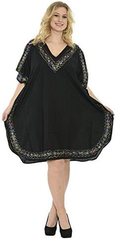 fe93b4e4209a4 Women's Embroidered Swimwear Beach Dress Dress Black Plain US: 14 - 28W at  Amazon Women's Clothing store: Nightgowns