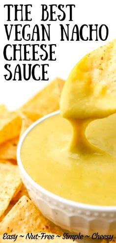 This is the ultimate vegan nacho cheese sauce! Quick and easy and free of dairy, oil, nuts, and gluten, yet this sauce has a rich and crea. Best Vegan Cheese, Vegan Cheddar Cheese, Vegan Cheese Recipes, Vegan Sauces, Vegan Dishes, Dairy Free Recipes, Vegan Foods, Dairy Free Nacho Cheese, Nacho Cheese Sauce