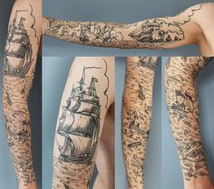 """This battleship scrimshaw sleeve from Rich Phipson, owner of Star Crossed Tattoo in Hong Kong, pretty much has it all. With immaculate linework, details to the nines, and a narrative that progresses from the outside to the inside of the sleeve, this tattoo is an entire story in and of itself."""