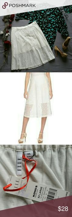 """ELLE SNOW WHITE EYELET MIDI SKIRT *BRAND NEW WITH TAGS  *APT. 9 BLOUSE, ALDO NUDE HEELS & ANNE KLEIN NUDE BAG SOLD SEPARATELY! BUNDLE AND SAVE  SHELL & LINING BOTH 100% COTTON  *HAND WASH  *MEASUREMENTS ARE APPROX & TAKEN LYING FLAT WAIST 37"""" *LINING LENGTH 20"""" *SHELL LENGTH 29.5"""" *PRICE IS FIRM FOR NOW UNLESS BUNDLED  *STORED IN NON-SMOKING PET FREE HOME Elle Skirts Midi"""