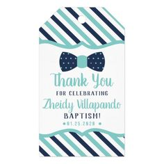 Shop Little Man Thank You Tag, Navy, Turquoise, Baptism Gift Tags created by DeReimerDeSign. Personalize it with photos & text or purchase as is! Photo Invitations, Baptism Invitations, Baby Dedication Invitation, Baptism Photos, Party Favor Tags, Party Favors, Baby Shower Thank You, Custom Ribbon, Baptism Gifts