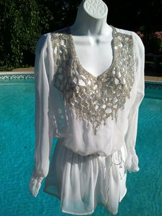 HONEYMOON ON ICE Solitaire White Bejeweled Front  Back Chiffon Tunic Cover Up | eBay
