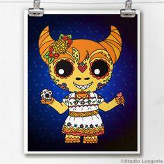 Dia De Los Muertos Cucuy Sugar Skull by StudioLongoria on Etsy, $10.00