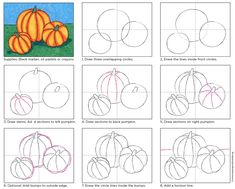 How to draw a pumpkin, good for 3rd grade or so on up. Lessons in overlapping and shadows. PDF tutorial available to share. #howtodraw #pumpkin