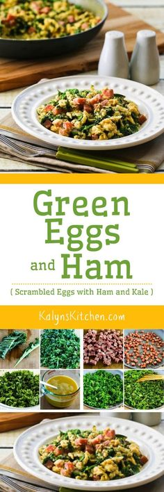 Green Eggs and Ham (Scrambled Eggs with Ham and Kale) are a fun way to celebrate Dr. Seuss Day, or just a healthy breakfast!  [found on KalynsKitchen.com]