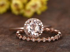 6.5mm Round morganite engagement ring set,full eternity diamond wedding band,2pcs bridal ring set,14k rose gold,plain band Morganite ring - BBBGEM