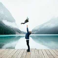 Photo of dad and baby son at Lake Louise, Alberta.