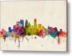 Minneapolis Minnesota Skyline Acrylic Print By Michael Tompsett
